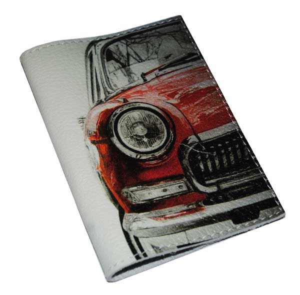 Кожаная женская обложка для паспорта -Красная машинка-