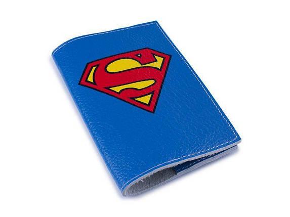 Кожаная обложка для паспорта -Супермен-, фото 2