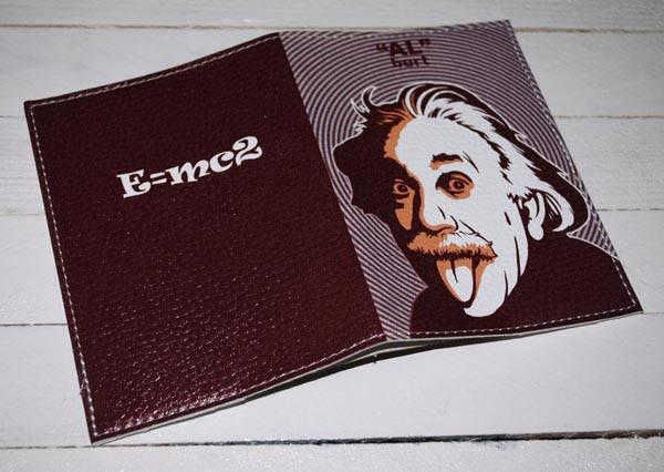 Мужская обложка для паспорта кожа -Эйнштейн-, фото 2