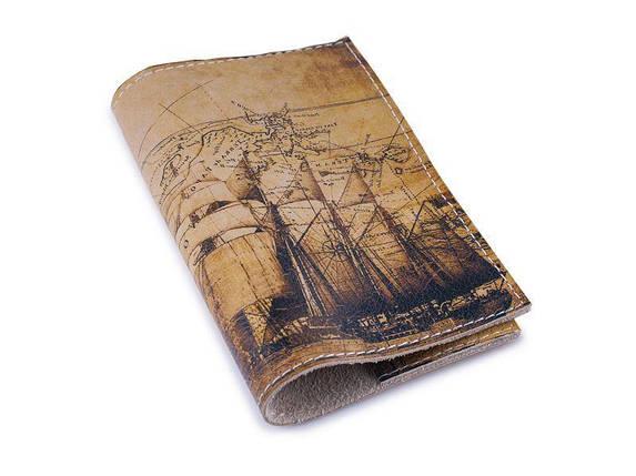 Винтажная обложка для паспорта -Старинная карта-, фото 2
