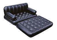 Надувной диван 5 в 1 c насосом , Церный, 188-152-64см (75056)