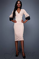 Женское бежевое платье Полит Jadone Fashion 42-48 размеры