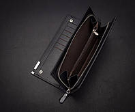 Мужской портмоне клатч чёрный Baellerry Classic удобный кошелёк BC100b