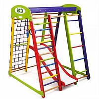 Детский спортивный комплекс для дома Акварелька Plus 1 с горкой, сеткой, кольцами ТМ SportBaby Разноцветный