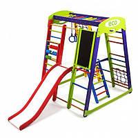 Детский спортивный комплекс для дома Акварелька Plus 3 с горкой, сеткой, кольцами, лесенкой ТМ SportBaby Разноцветный