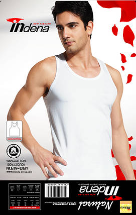 Мужская Майка 100% Хлопок Марка  «INDENA»   Арт.091 Белый, фото 2