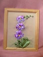 "Картина вышитая лентами ""Орхидея"" 28х23см"