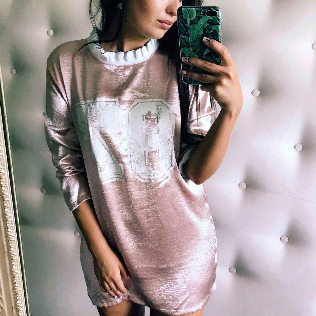 Женское шёлковое платье-туника в расцветках. ФК-28-0717