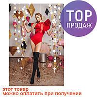 Женское боди с воланами, на кнопках, красное / блузка боди женская, стильная