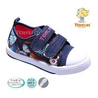 Кеды для девочки Tom.m синий джинс в бабочки 1394A