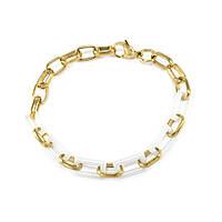 Керамический браслет прямоугольные звенья бело-золотой Арт. BS005CR