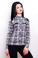 Женская рубашка в клетку 2036 черно-белый