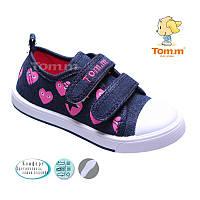 Кеды для девочки Tom.m синий джинс в розовые сердечки 1389A