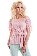 Женская летняя блуза из тонкого льна 814 розовый