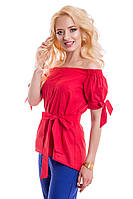 Женская летняя блуза из тонкого льна 814 красный