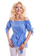Женская летняя блуза из тонкого льна 814 голубой