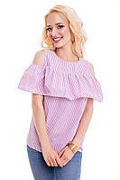 Женская летняя блуза в плоску 816 розовый