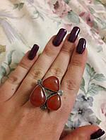 Кольцо с натуральным камнем сердолик в серебре.