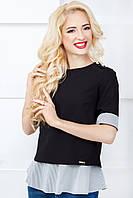 Женская нарядная блуза 812 мелкая серая полоска