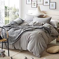 Серое постельное белье однотонное Smoky Grey (ранфорс, 100% хлопок)