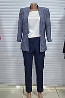 Костюм женский( пиджак , брюки) синий с кружочками