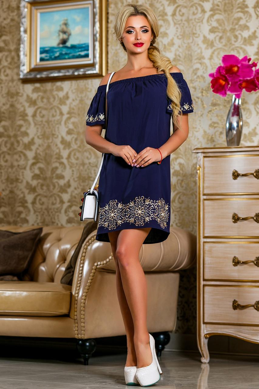4dee397d6808a59 Вышитое Короткое Платье с Открытыми Плечами Темно-Синее р.S-М - Ukraine