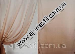 Тюль вуаль бежево- белый, фото 2