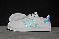 Кроссовки женские Adidas Superstar белые с перламутровым