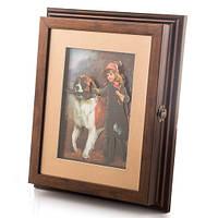 """Ключница-картина 3D """"Девочка и собака"""" (24*28*5 см)"""