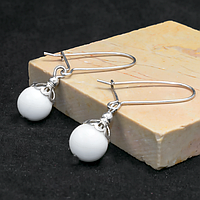 Перламутр белый, Ø10 мм., серебро, серьги, 227СРП