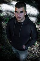 Толстовка мужская чёрная тёплая с капюшоном, размер S