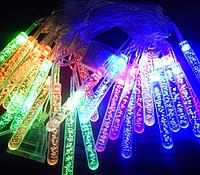 Новогодняя гирлянда, Гирлянда светодиодная Сосульки с пузырьками L28 мульти