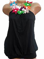 Яркие женские туники с цветками (черный 46-48)