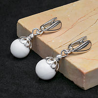 Перламутр белый, Ø10 мм., серебро, серьги, 228СРП