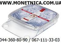 Пластиковая монетница Контакт инфо  с карманом для листовок или брошюр