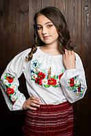 Нарядная блузка вышиванка для девочки  с вышитыми маками
