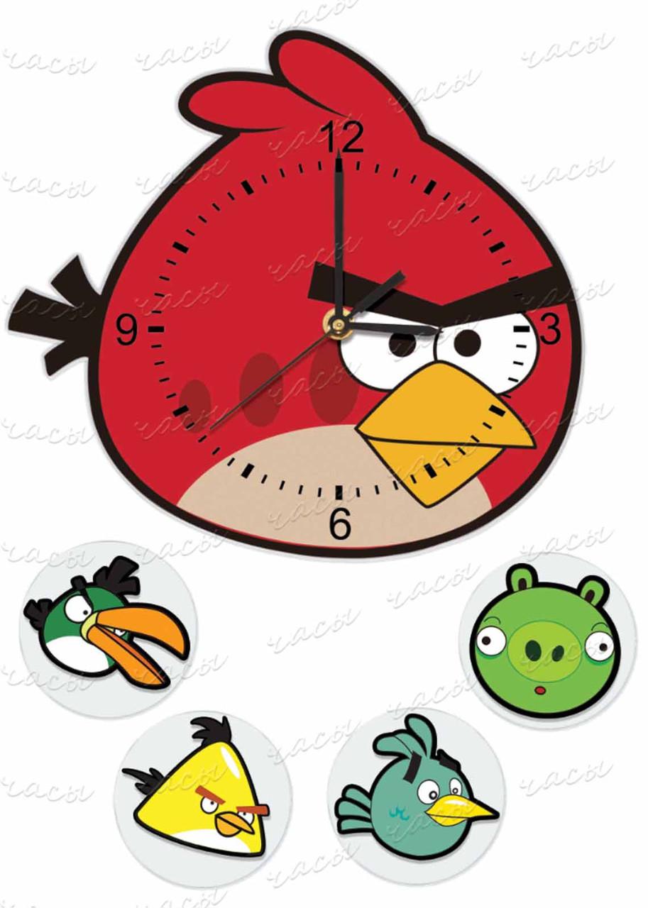 """Часы детские настеные """"Злые птички"""""""