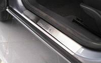 Защитные хром накладки на пороги Opel Astra H HB 3D (опель астра аш/н/ейч 3х дверный 2004-2010)