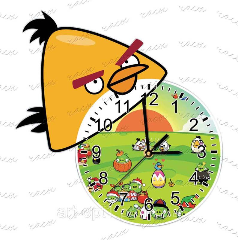 Часы детские оргстекло Желтая птичка
