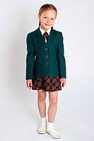 Школьный жакет для девочки зеленый, классический жакет для девочки, пиджак для девочки школьный