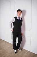 Жилет для мальчика подростка школьный черный, школьный жилет, жилетка для подростка, классический жилет