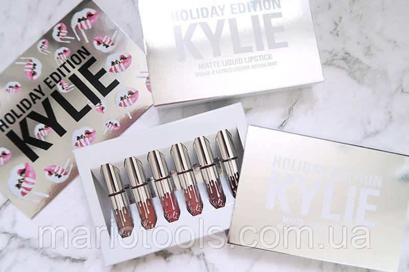 Набор матовых жидких помад Kylie Holiday Edition 6шт Оригинал! Made in U.S.A.