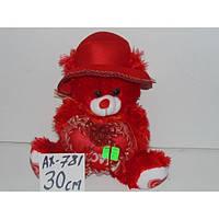 Медведь мягкий в шапке 30 см, плюшевый мишка с сердцем, подарок на день Валентина, мягкие игрушки детские