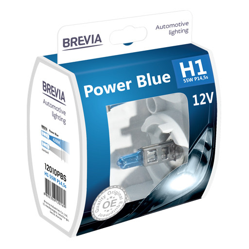 Комплект галогеновых ламп Brevia H1 Power Blue 12v/55w