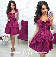 Короткое женское платье с вырезом в горошек P6811