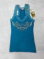 Майка женская VDP голубая с кружевом