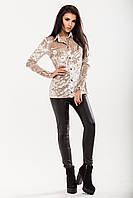 Блуза из нежно-бежевого мраморного бархата