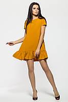 Игривое короткое платье с рюшей из крепа горчичного цвета