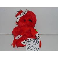 Медведь музыкальный в шапке с шарфиком 25 см, плюшевый красный мишка, мягкая игрушка, подарок для девушки