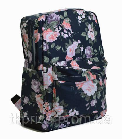 2d362c83da9f Хлопковый рюкзак для школы и прогулок с цветочным принтом синий , фото 2